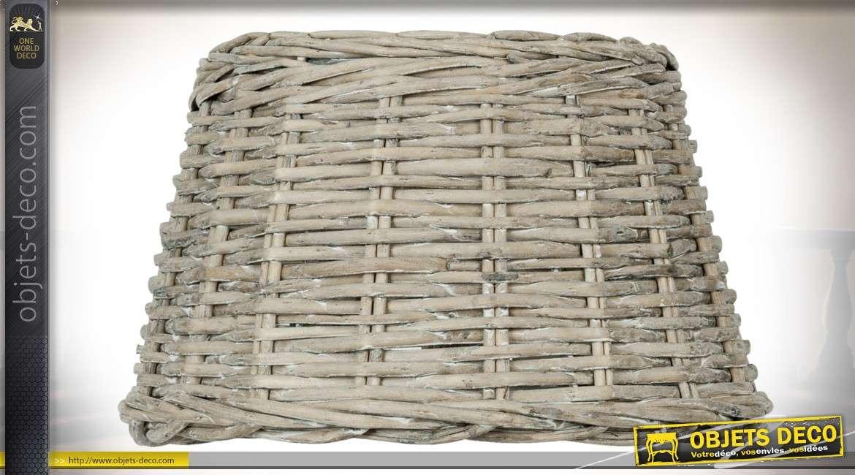 Abat-jour en rotin gris clair blanchi pour suspension Ø 36 cm