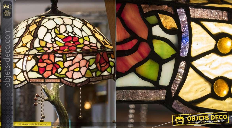 Grande lampe de style Tiffany Art Déco 1900 Sylvia Hortensis 62 cm