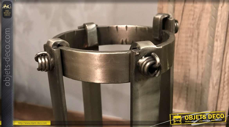 Valet de cheminée en métal effet inox argenté brossé, avec 3 accessoires de style moderne contemporain, 48 cm