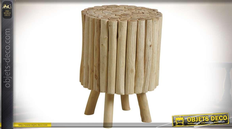 Tabouret rustique en rondins de bois clair forme cylindrique avec 4 pieds 45 cm