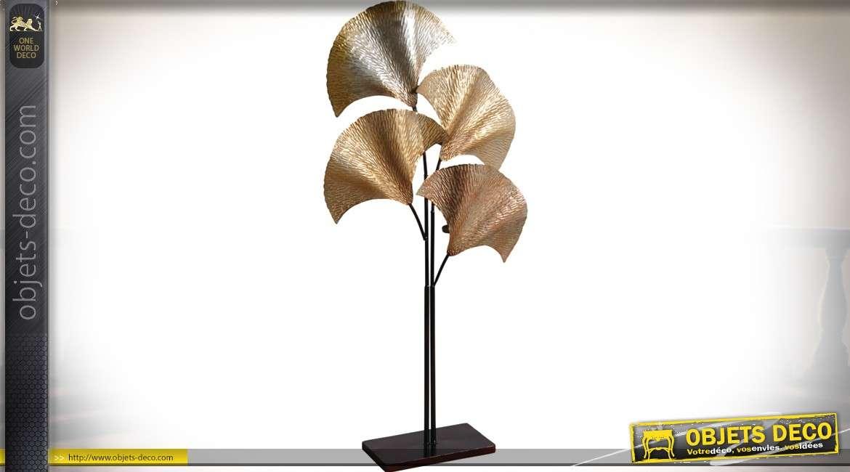 Grand bougeoir à photophores sur pied en forme de feuilles de palmier doré 110 cm
