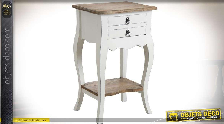 Table de chevet blanche 2 tiroirs acajou blanc et bois naturel 67,5 cm