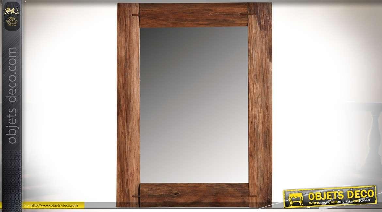 Miroir rustique en chêne teinté 60 x 46 cm