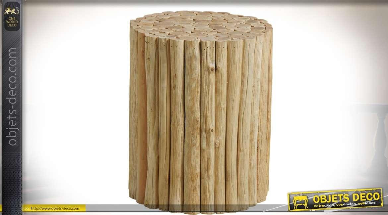 Tabouret rustique cylindrique en rondins de bois clair 40 cm