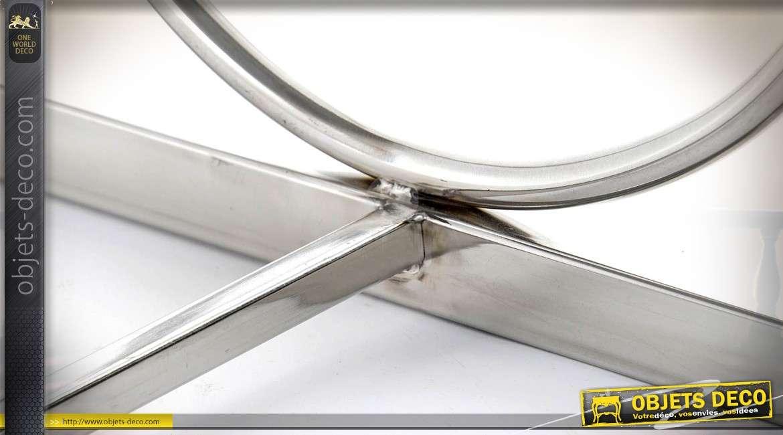 Bout de lit design métal chromé et peau de vache naturelle marron foncé 122 cm
