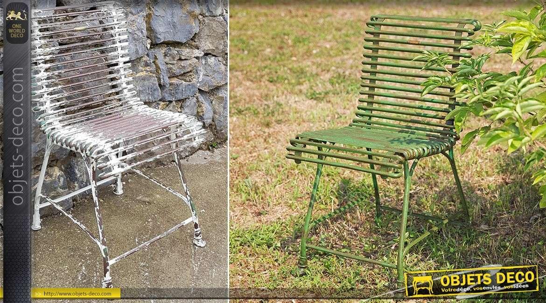 Chaise de jardin en fer forgé métal en 1/2 rond à l'ancienne
