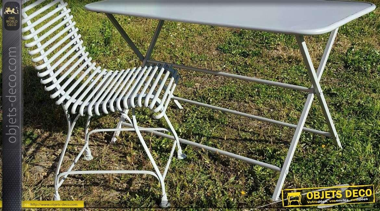 Chaise de jardin en fer forgé métal en 1/2 rond à l\'ancienne