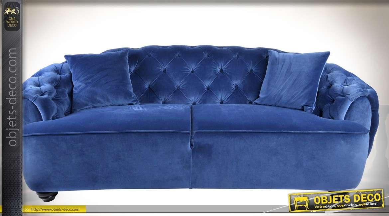 Canapé velours bleu capitonné luxueux avec dossier en demi-lune 213 cm