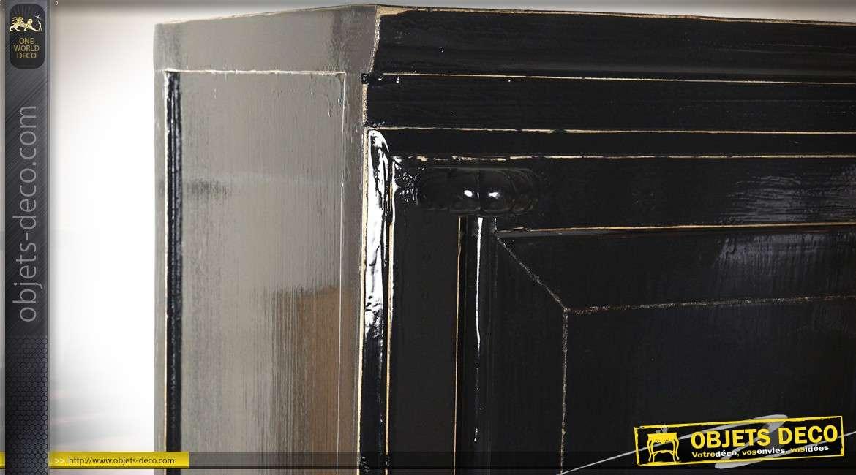 Armoire à 2 portes de style japonais et rétro patine gris anthracite 172 cm