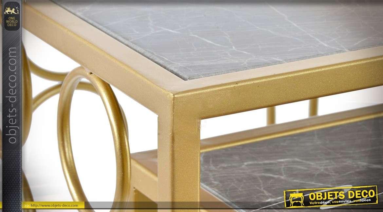 Duo de consoles Art Déco en métal doré avec plateaux en marbre
