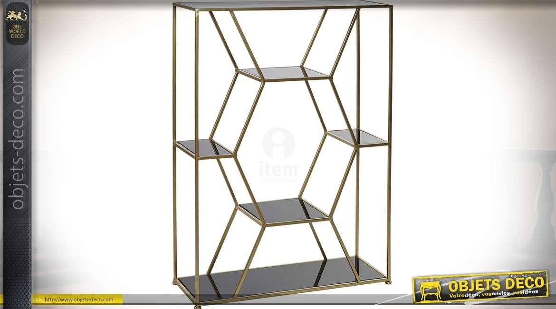 Etagère design en verre et métal motif nid d'abeille doré 94 cm
