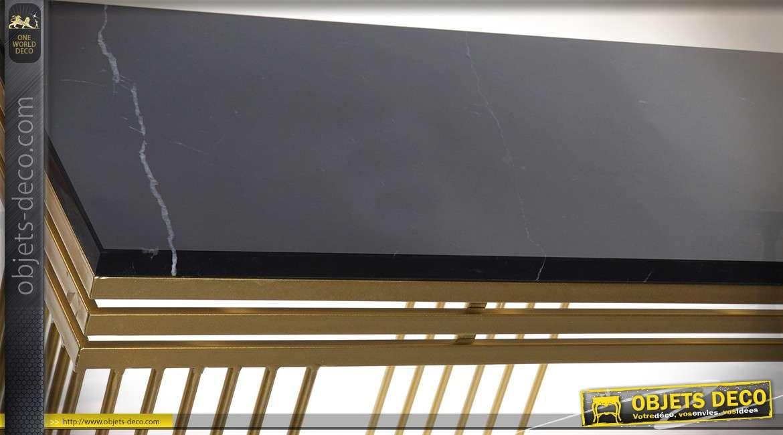 Console dorée design en métal avec plateau en marbre noir 120 cm