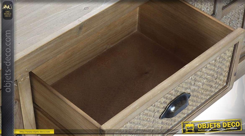 Meuble TV rustique bois oxydé avec façade effet vannerie 130 cm