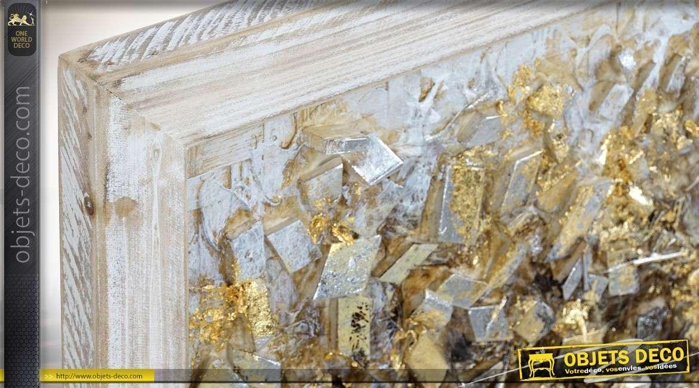 Diptyque sur bois en relief arbres dorés et argentés 60 cm
