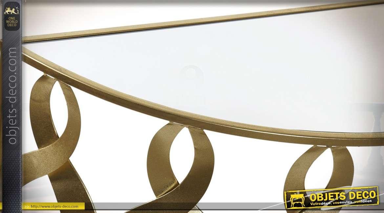 Console design en verre et métal forme en demi-lune finition dorée 120 cm