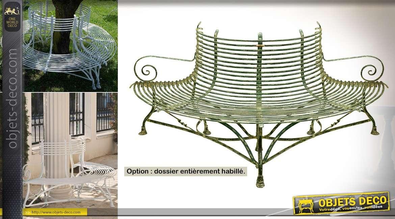 Banc d'arbre en fer forgé plein artisanal style rétro finition personnalisable 190 cm