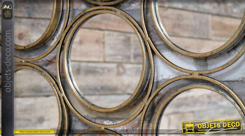 Miroir multifacettes avec 7 miroirs ronds secondaires métal doré vieilli Ø 70 cm