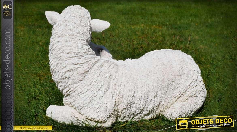 Statuette animalière : brebis et agneau 38 cm