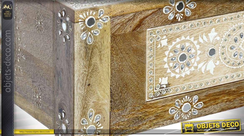 Coiffeuse avec miroir de style indien en manguier avec incrustation de brillants 167 cm