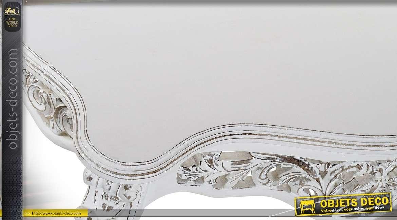 Console de style baroque en manguier sculpté patine blanche à l'ancienne 109 cm