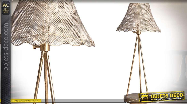 Lampe de table style rétro finition dorée et vieillie 72 cm