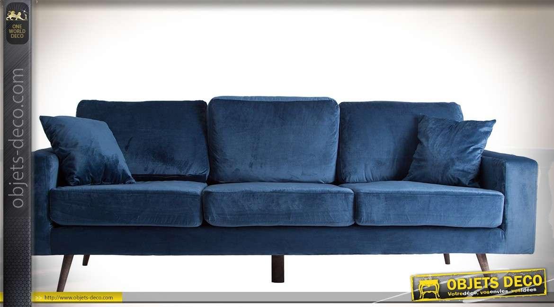 Canapé 3 places vintage avec habillage velours bleu nuit