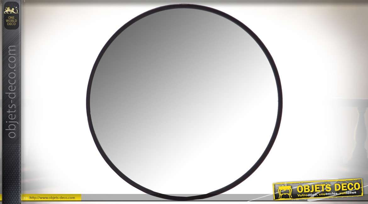 miroir rond en m tal avec cerclage noir de style. Black Bedroom Furniture Sets. Home Design Ideas