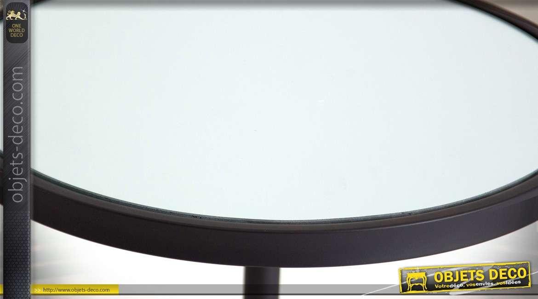 Table sellette noir et doré style Art Déco en métal et verre 66 cm