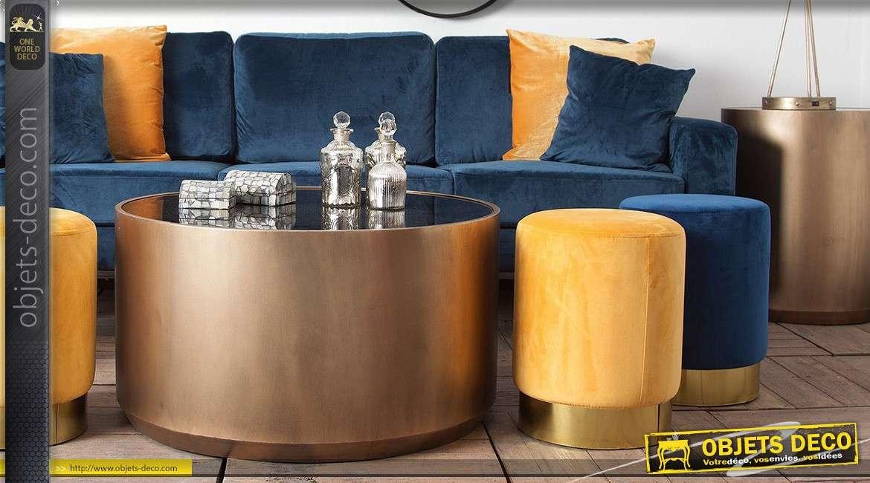 Série de 2 tables d'appoint cylindriques gris argenté et doré cuivré 61 cm