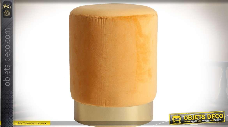 Repose-pieds en velours style Art Déco coloris jaune 43 cm