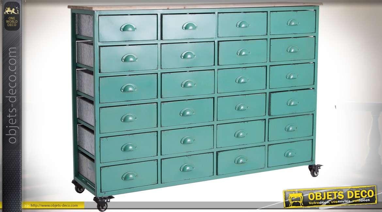 Chiffonnier industriel en bois et métal à 24 tiroirs coloris vert azur 130 cm