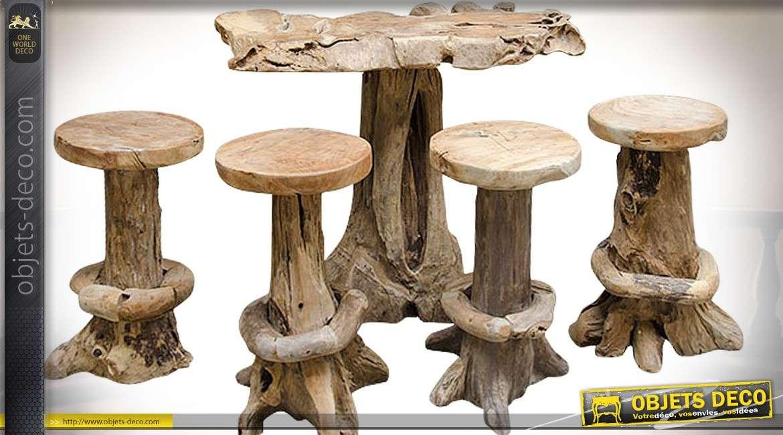 table bar avec 4 tabourets en racine de teck brut sculpte a la main