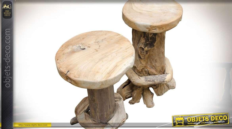 Table bar avec 4 tabourets en racine de teck brut sculpté à la main