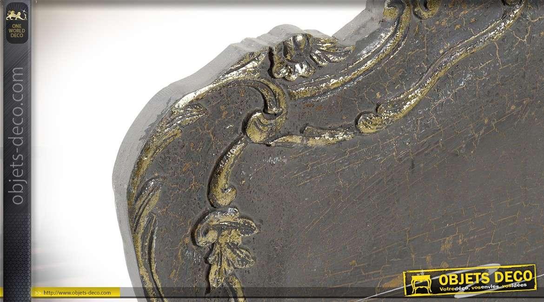 Tête de lit baroque en manguier patine gris bistre et doré 162 cm