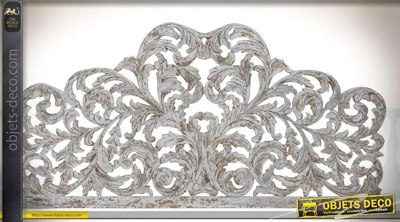 Tête de lit romantique et rétro en manguier sculpté et ajouré 162 cm