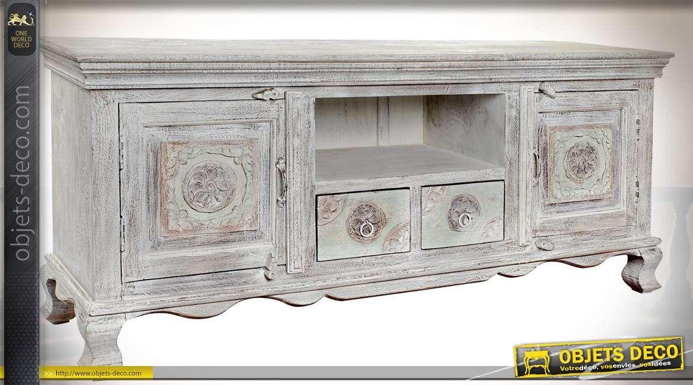 Meuble Tv Rustique Chic En Manguier Sculpte Patine Blanche A L Ancienne 150 Cm