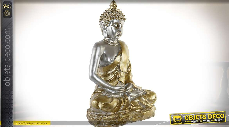 Grande statuette de bouddha doré et argenté position du lotus 72 cm