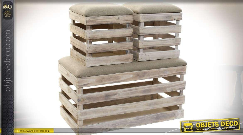 Banquette bout de lit et deux poufs style rustique en bois et tissu 60 cm
