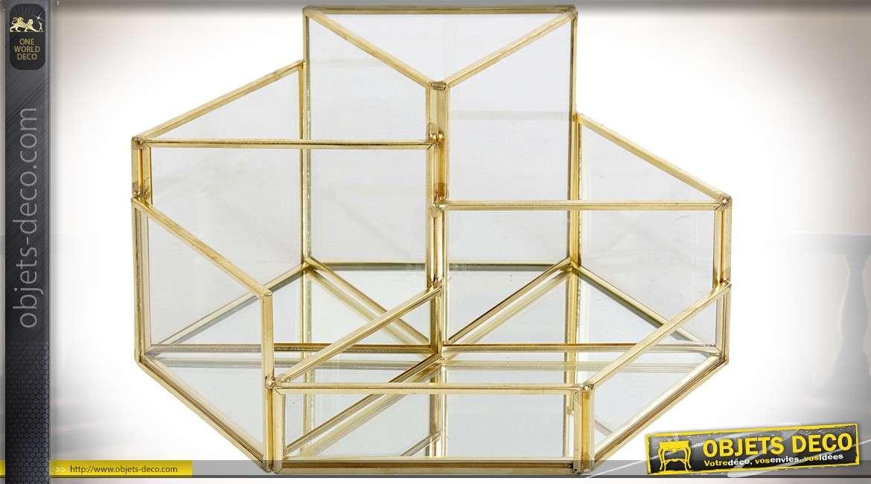 Boîte à bijoux compartimentée en métal doré brillant et verre Ø 20 cm