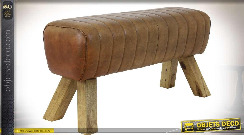 Banc cuir marron en forme de cheval d'arçons 87 cm