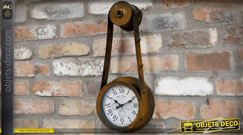 Horloge murale suspendue style indus en forme de poulie 43 cm