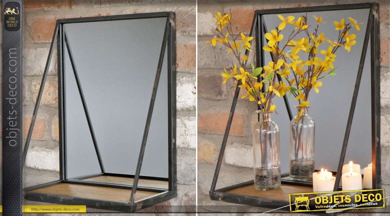 Etagère murale miroir en bois et métal de style rétro industriel 38 cm