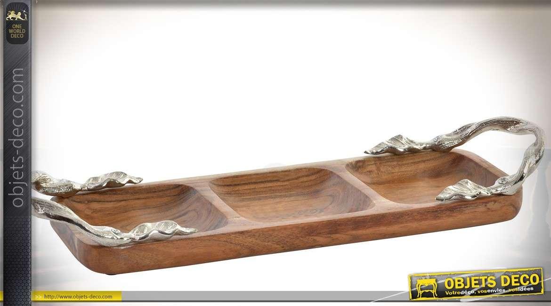Long plat compartimenté en acacia massif et fonte d'aluminium argentée 46 cm