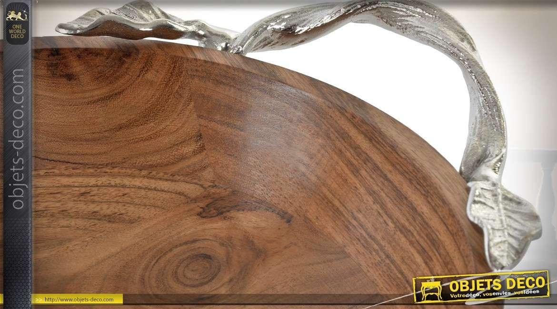 Plat rond creux en acacia massif et fonte d'aluminium argentée 37 cm