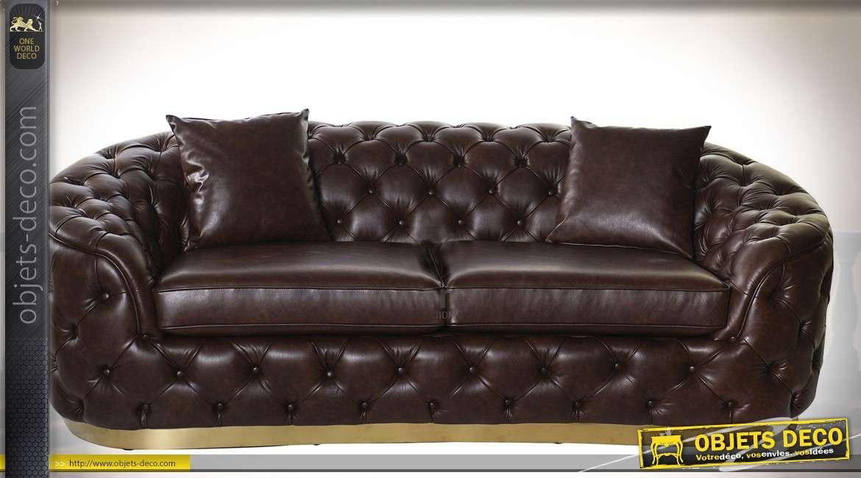 Canapé 3 places en similicuir noir capitonné style lounge 222 cm
