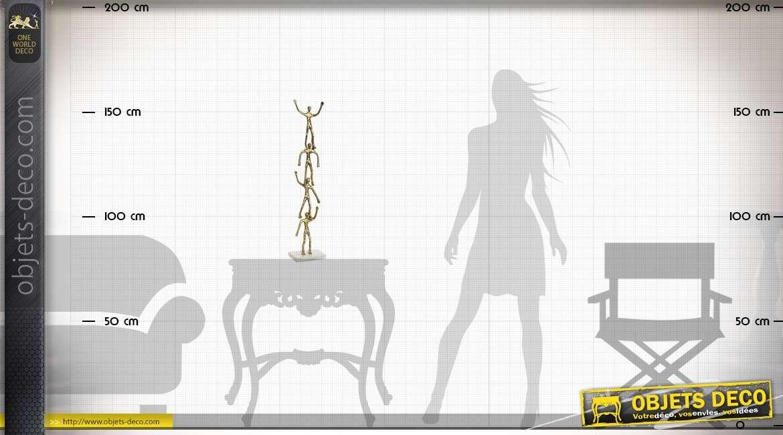 Grande statuette en marbre et aluminium doré personnages 74 cm