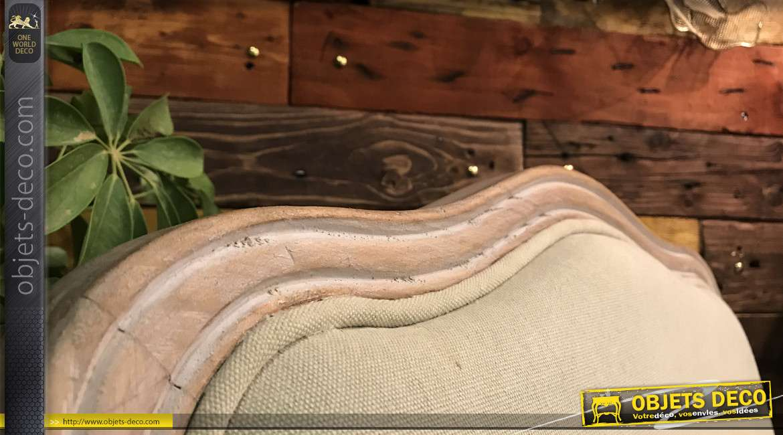 Fauteuil bergère style Louis XV bois sculpté et tissu beige 95 cm