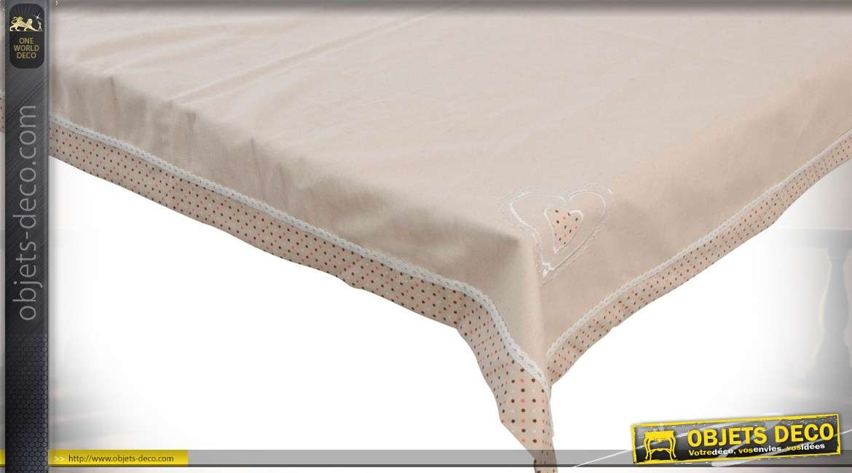 Nappe en coton coloris lin écru bordure à pois et broderie anglaise 100 x 100 cm