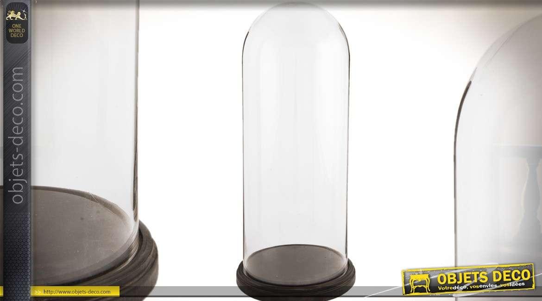 Haut globe ovale en verre sur socle 60 cm
