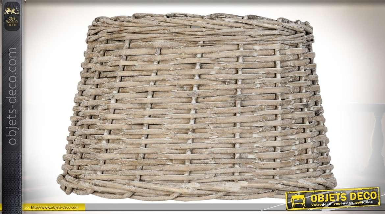 Abat-jour en rotin vieilli pour suspension Ø 30 cm
